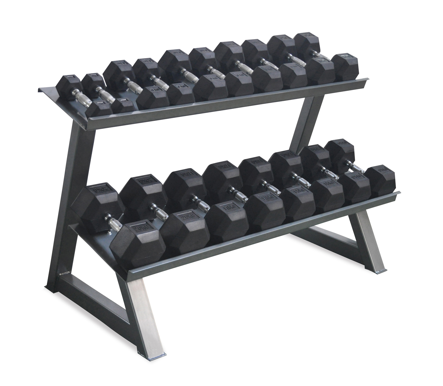 70584ebe31a Rubber Hex Dumbbells Set 10-40kg with Rack